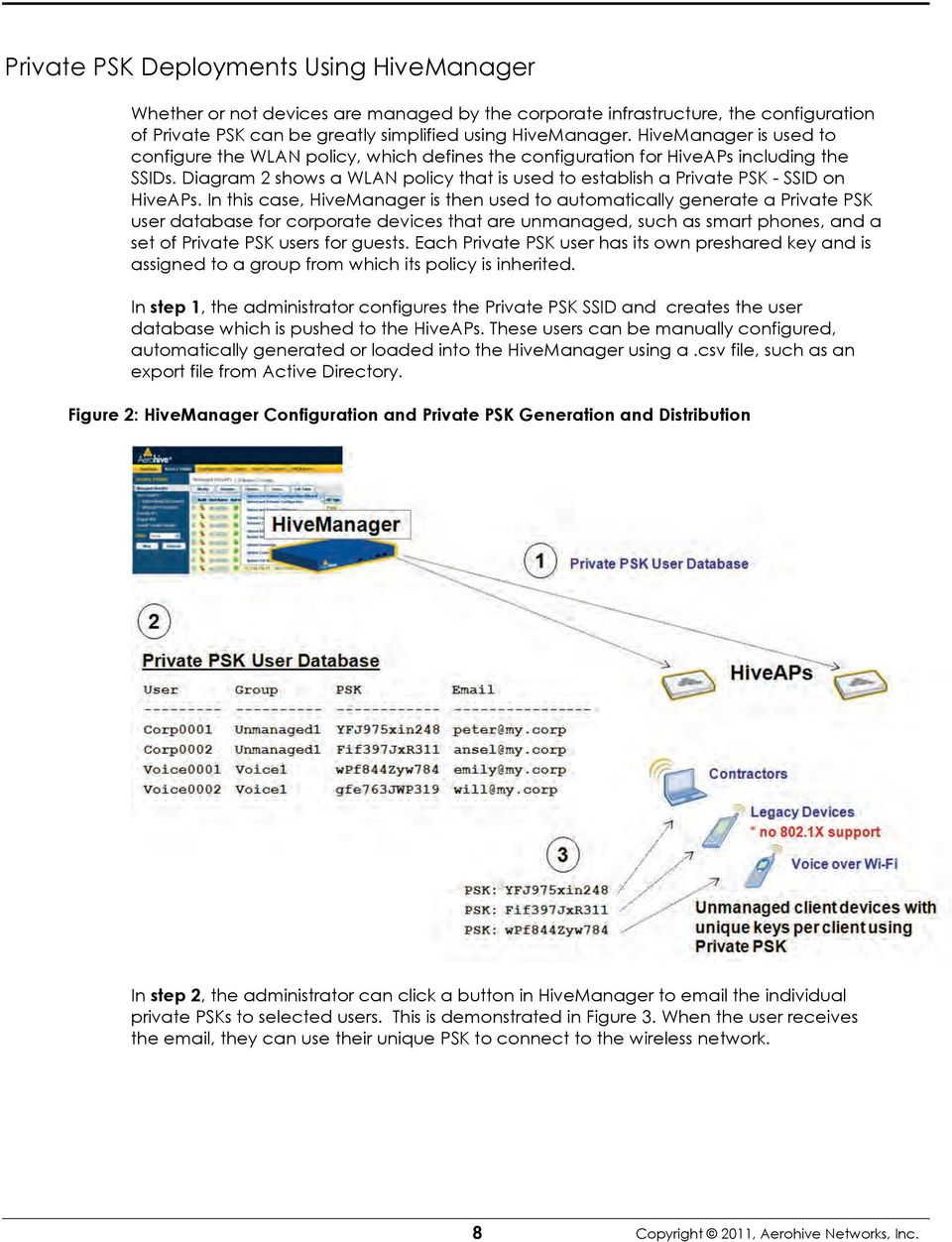 Diagram 2 shows a WLAN policy that is used to establish a Private PSK - SSID on HiveAPs.