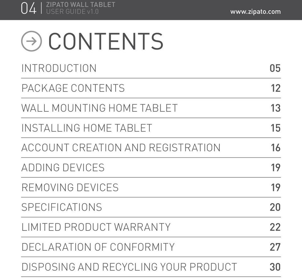 ADDING DEVICES 19 REMOVING DEVICES 19 SPECIFICATIONS 20 LIMITED PRODUCT