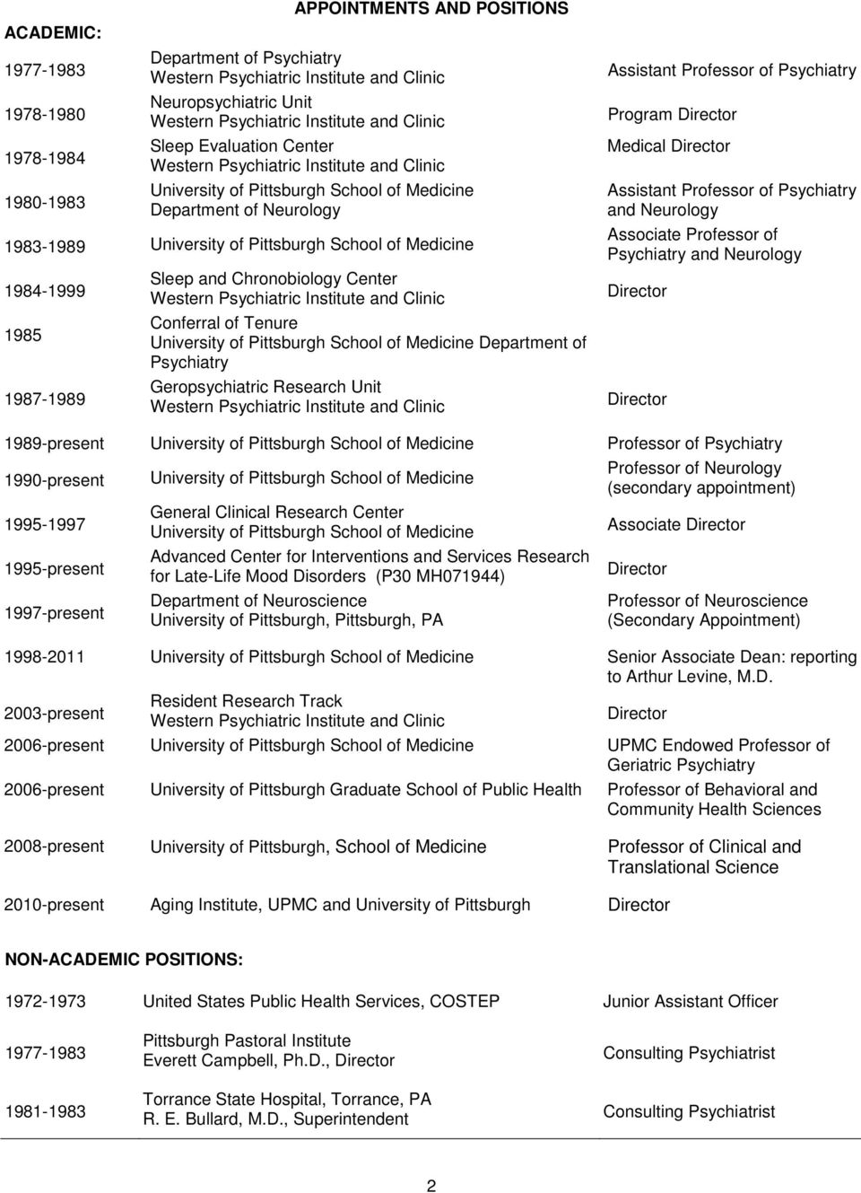 curriculum vitae charles f reynolds iii m d university of 1984 1999 1985 1987 1989 sleep and chronobiology center western psychiatric institute and clinic