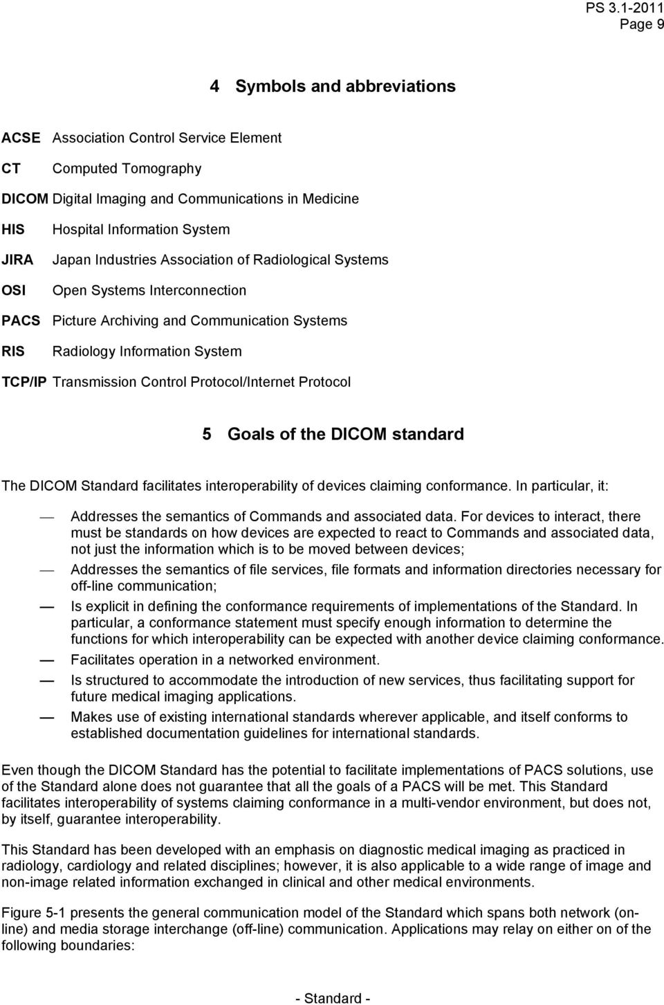 Protocol/Internet Protocol 5 Goals of the DICOM standard The DICOM Standard facilitates interoperability of devices claiming conformance.