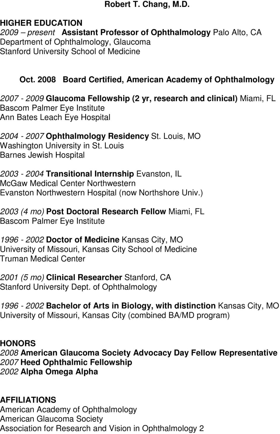 Ophthalmology Residency St. Louis, MO Washington University in St.