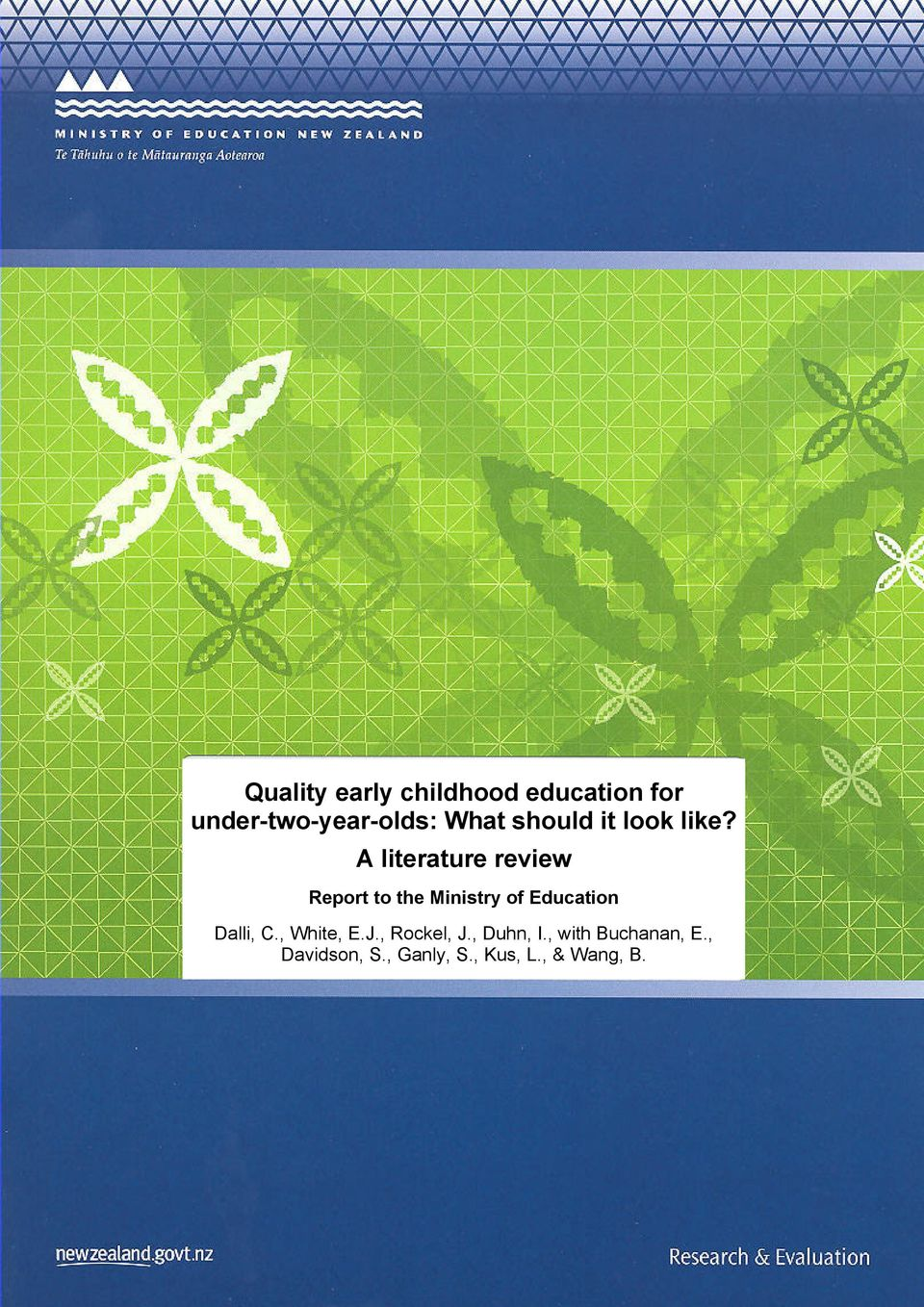 A literature review Report to the Ministry of Education Dalli,
