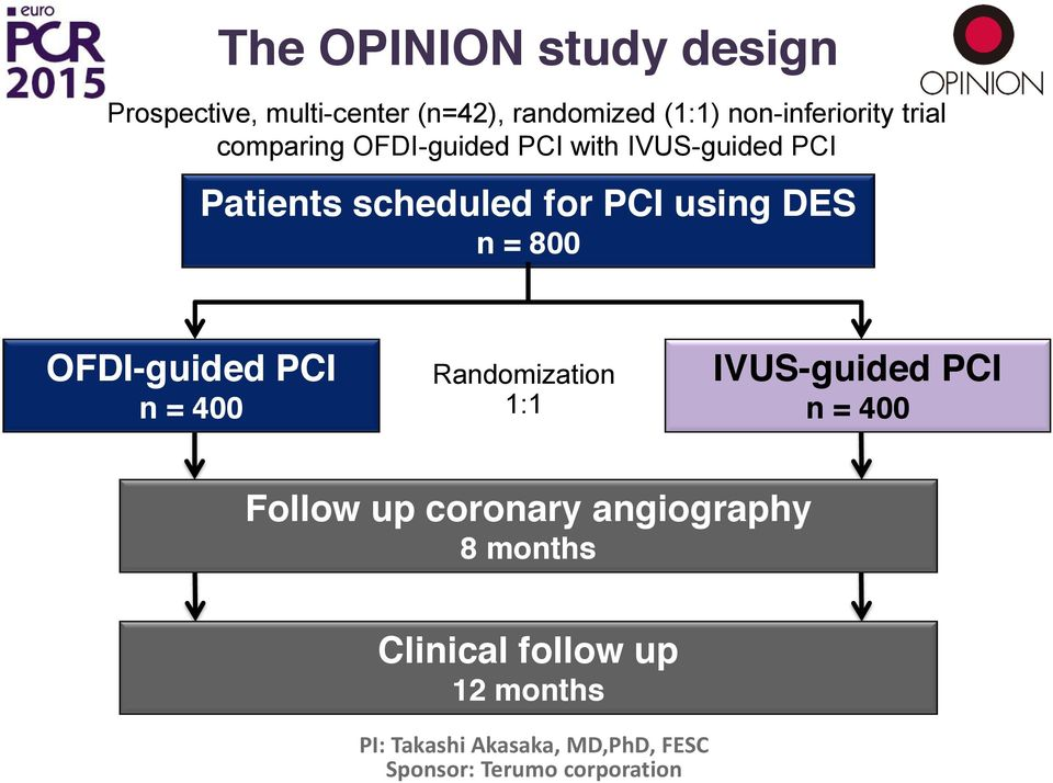 800 OFDI-guided PCI n = 400 Randomization 1:1 IVUS-guided PCI n = 400 Follow up coronary