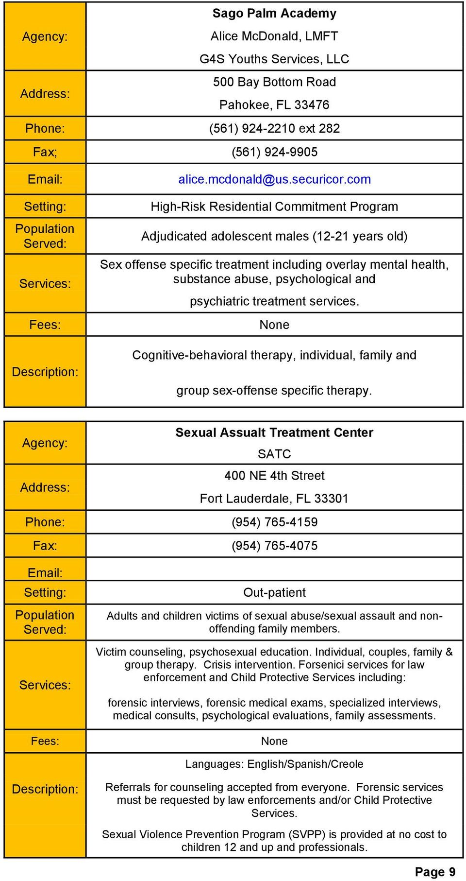 psychiatric treatment services. None Cognitive-behavioral therapy, individual, family and group sex-offense specific therapy.