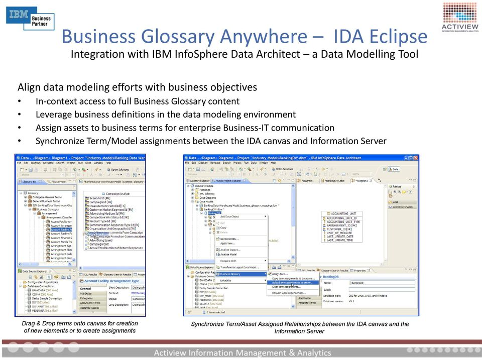 terms for enterprise Business-IT communication Synchronize Term/Model assignments between the IDA canvas and Information Server Drag & Drop terms onto