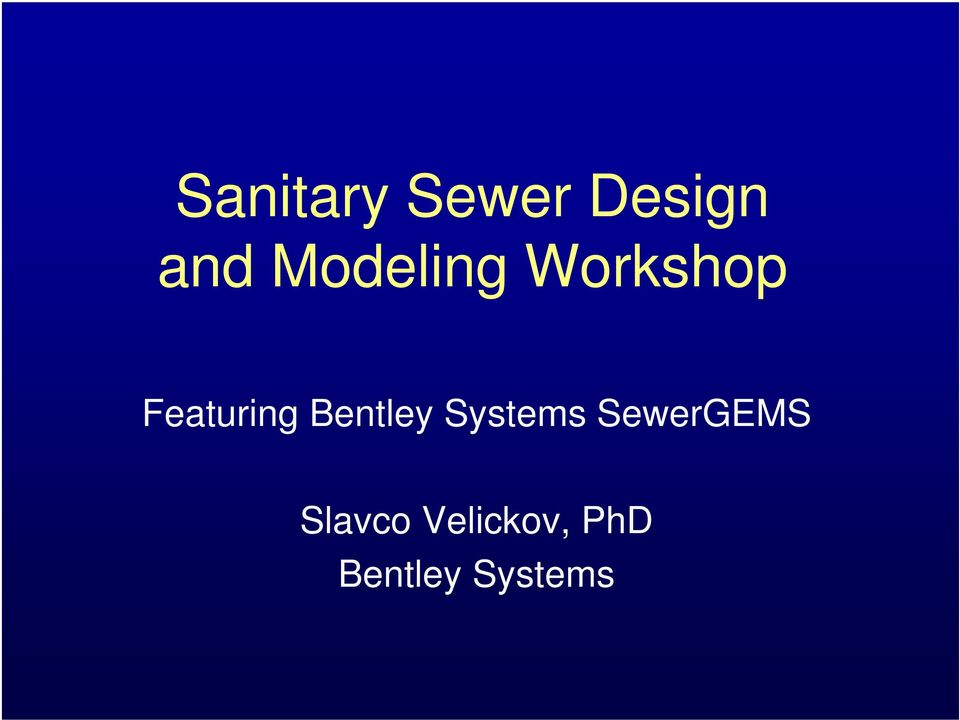 Bentley Systems SewerGEMS