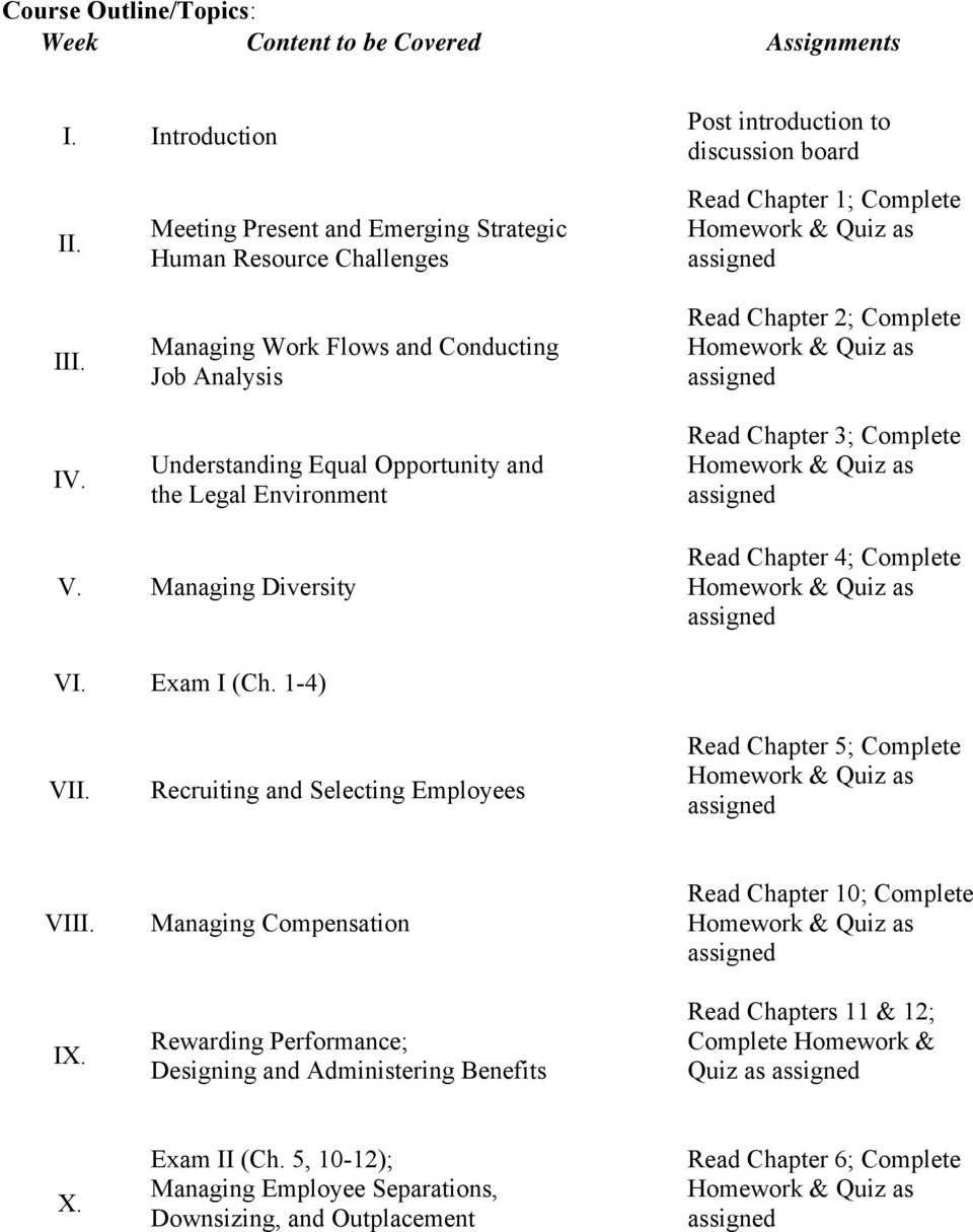 Managing Work Flows and Conducting Job Analysis Understanding Equal Opportunity and the Legal Environment Read Chapter 2; Complete Read Chapter 3; Complete V.