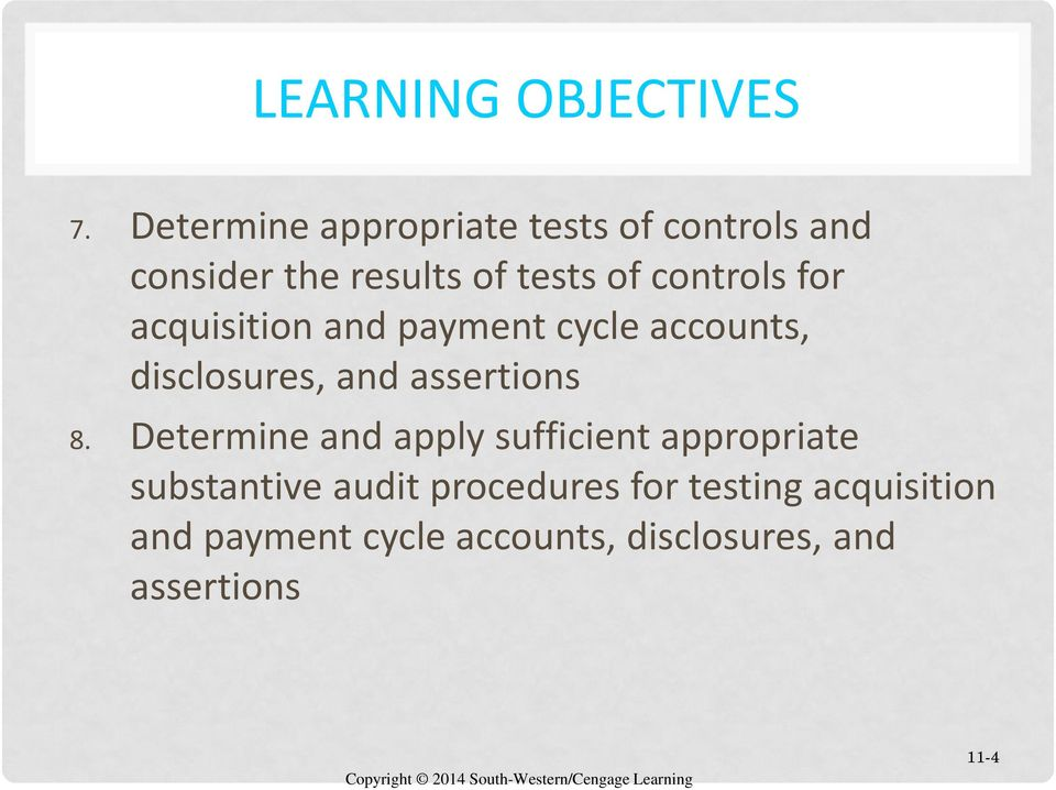 CHAPTER 11 AUDITING INVENTORY, GOODS AND SERVICES, AND