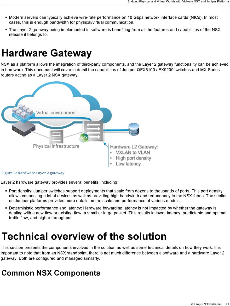 Hardware Gateway NSX as a platform allows the integration of third-party components, and the Layer 2 gateway functionality can be achieved in hardware.