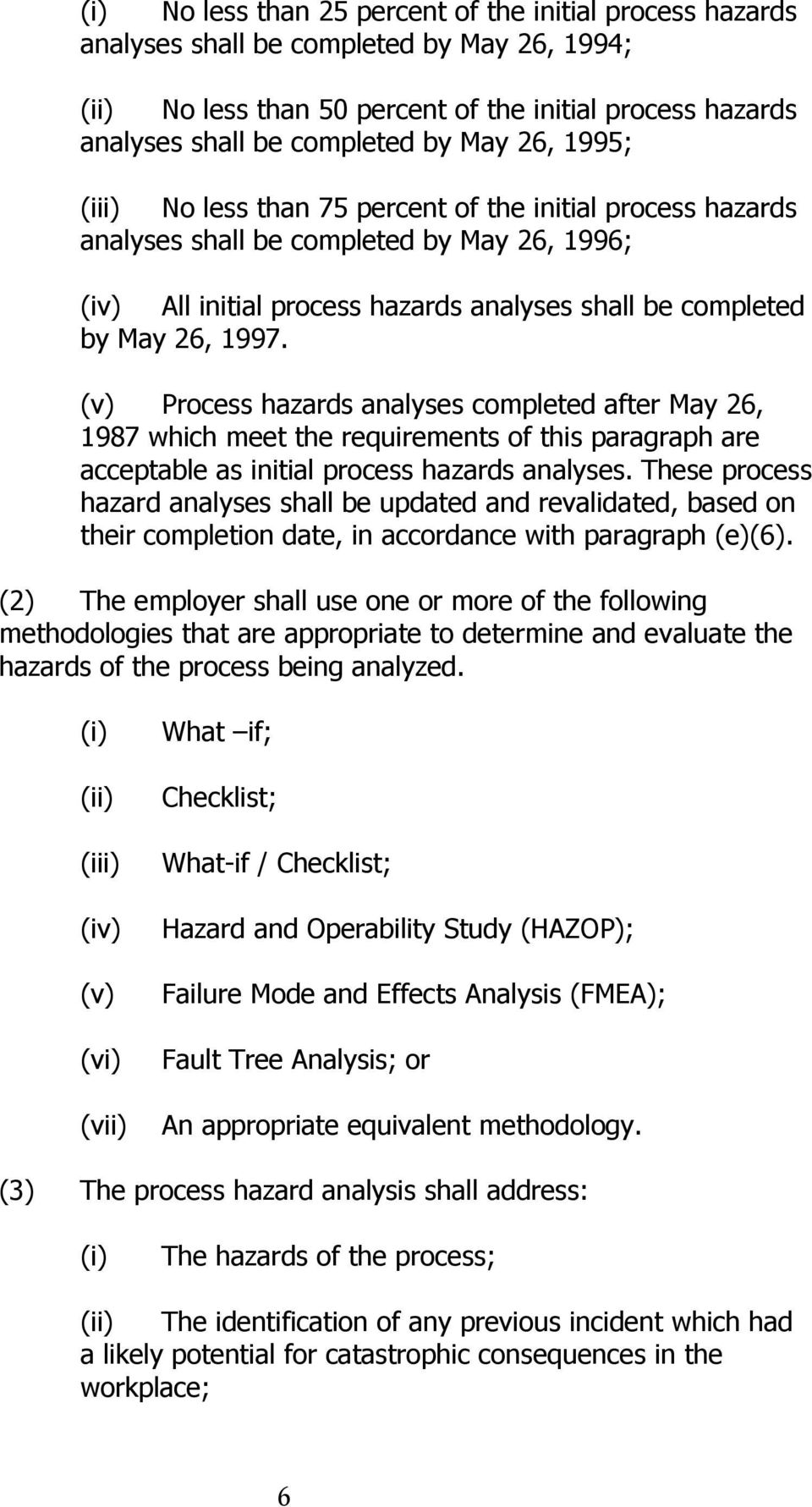 (v) Process hazards analyses completed after May 26, 1987 which meet the requirements of this paragraph are acceptable as initial process hazards analyses.