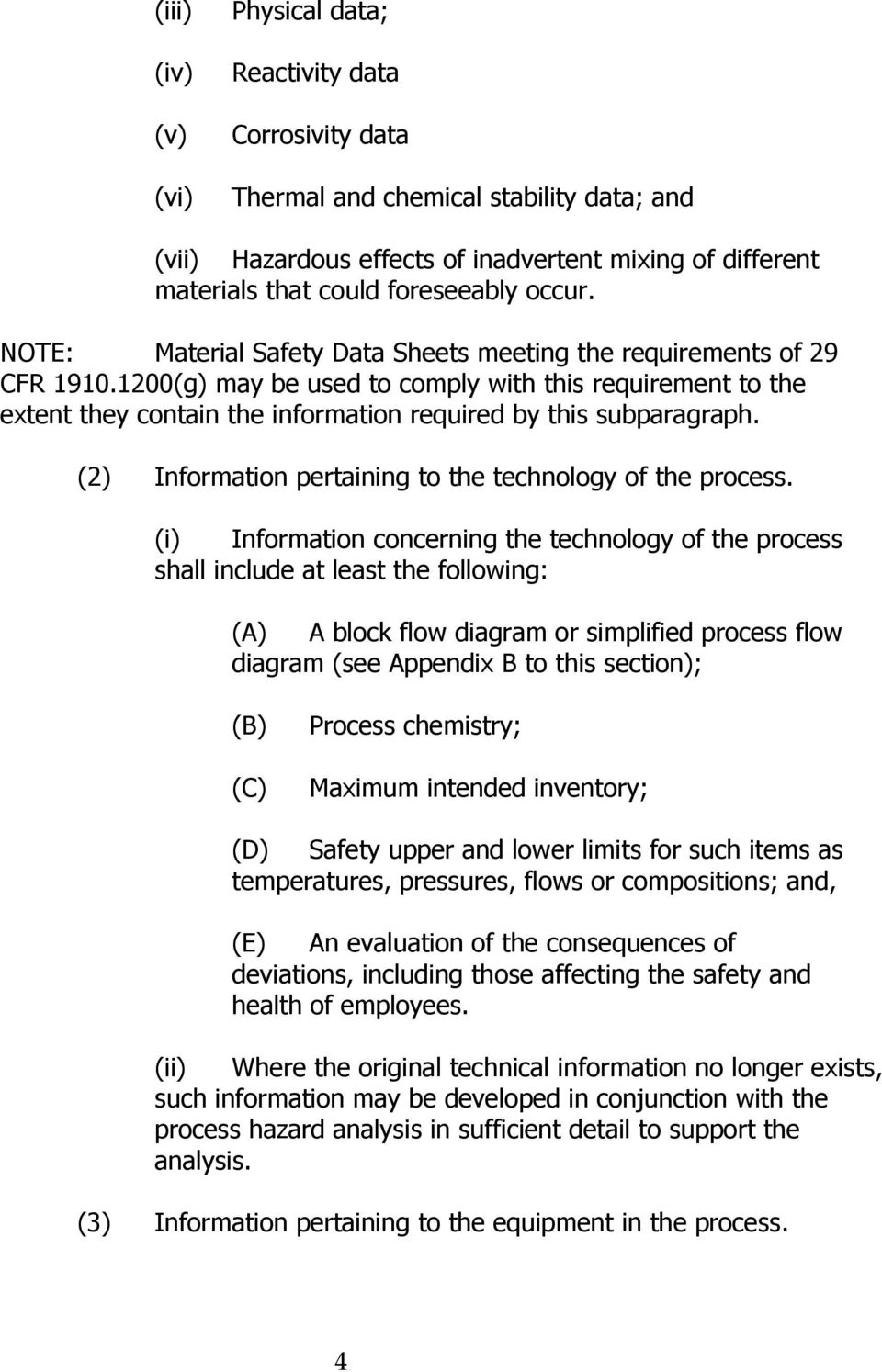 1200(g) may be used to comply with this requirement to the extent they contain the information required by this subparagraph. (2) Information pertaining to the technology of the process.