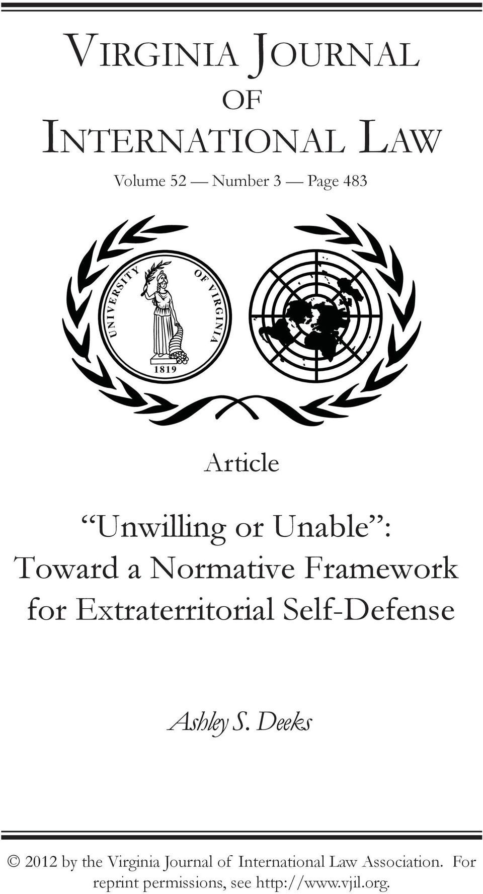 Framework for Extraterritorial Self-Defense Ashley S.