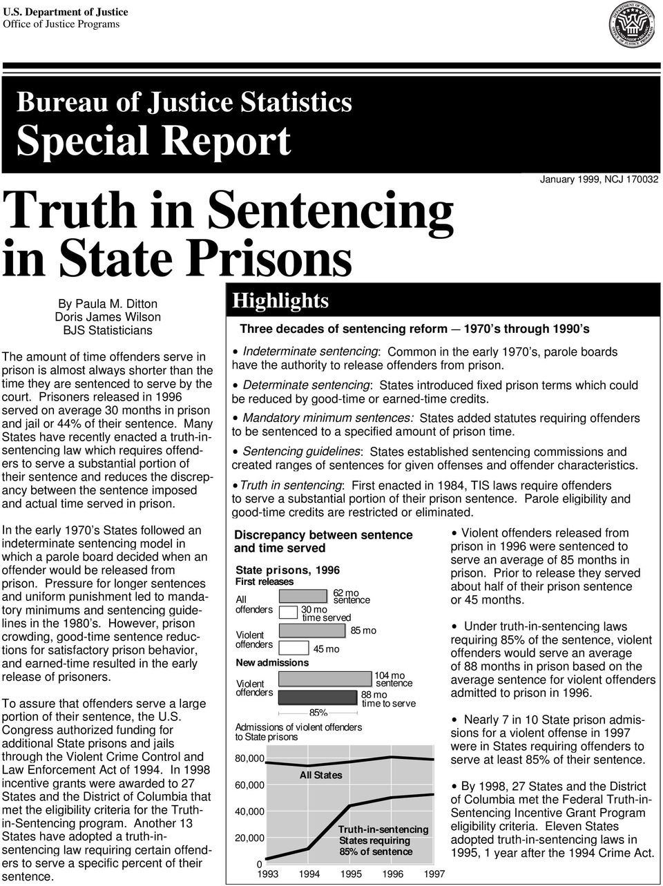 Prisoners released in 96 served on average 30 months in prison and jail or 44% of their sentence.