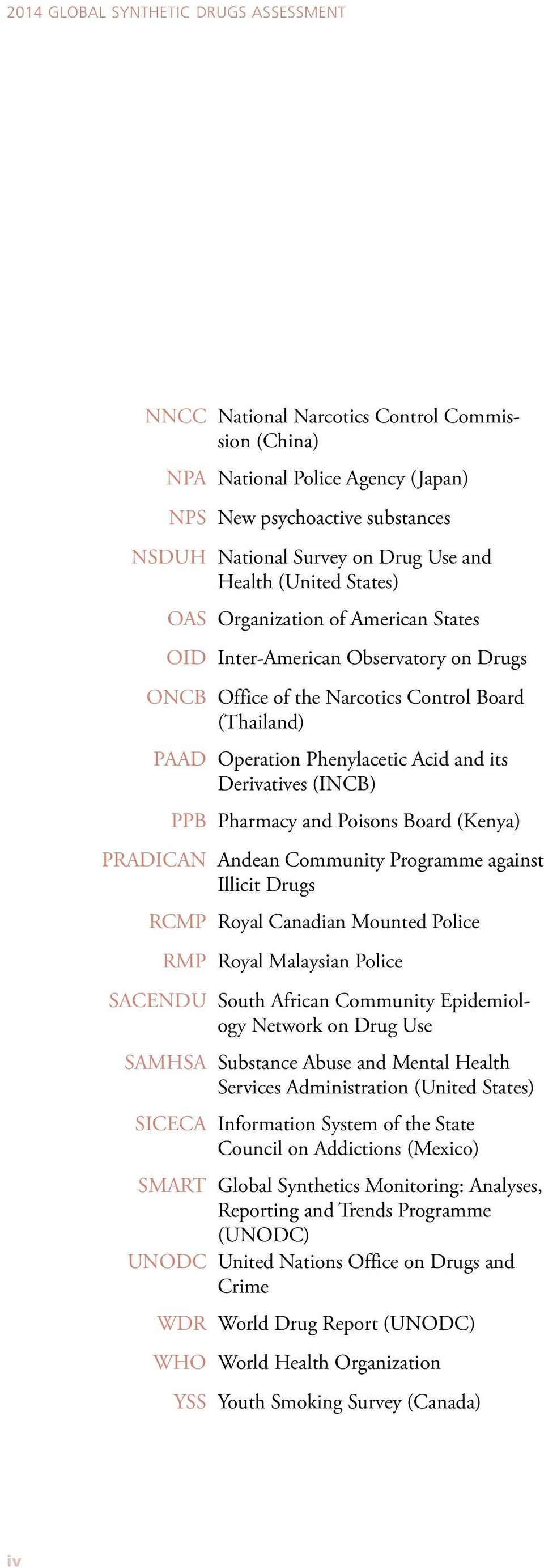 Derivatives (INCB) PPB Pharmacy and Poisons Board (Kenya) PRADICAN Andean Community Programme against Illicit Drugs RCMP Royal Canadian Mounted Police RMP Royal Malaysian Police SACENDU South African