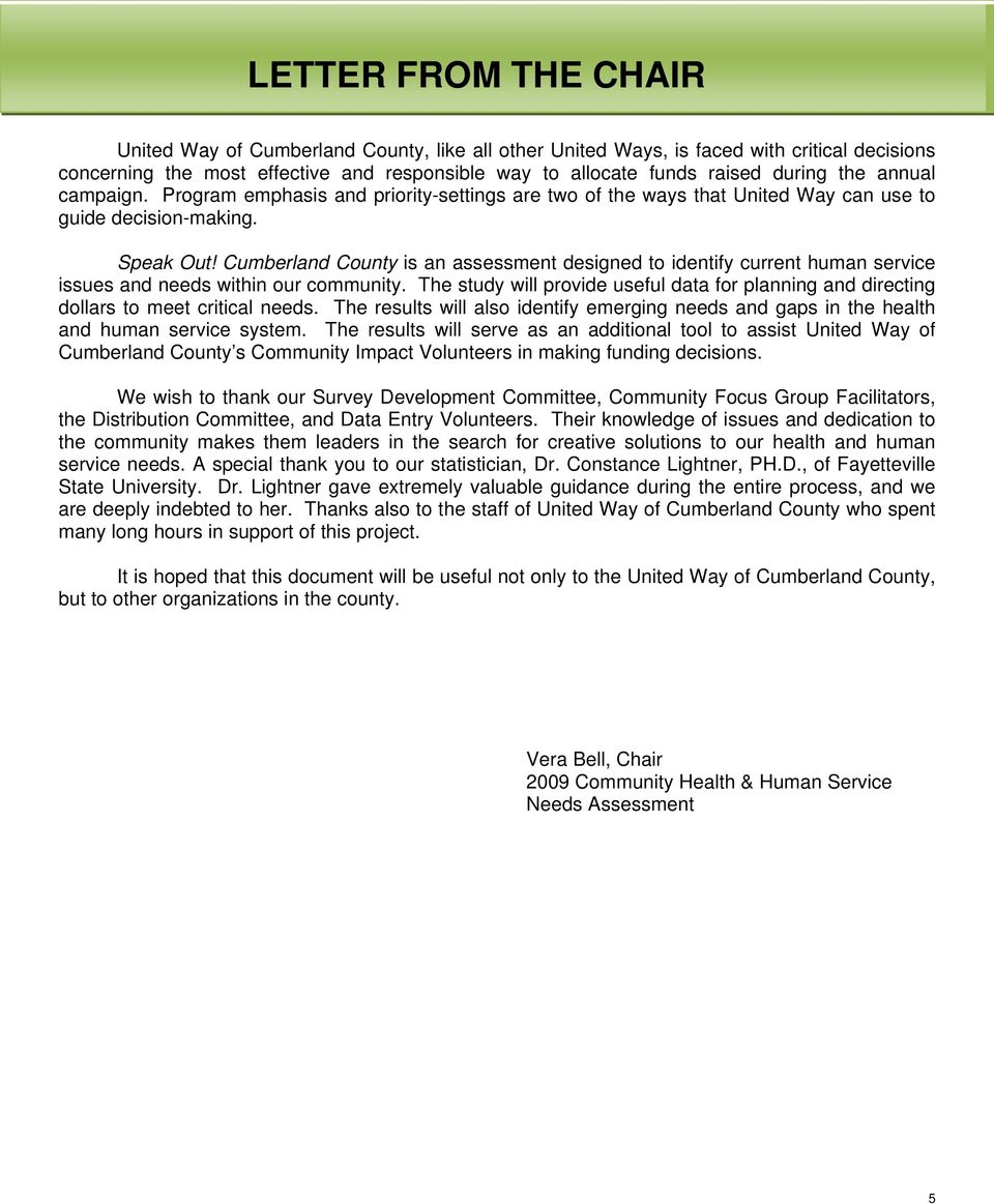 Cumberland County is an assessment designed to identify current human service issues and needs within our community.