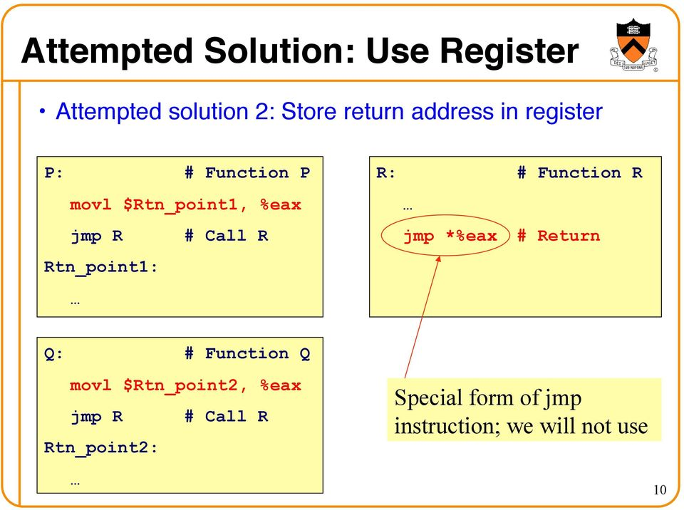 P: # Function P movl $Rtn_point1, %eax jmp R # Call R Rtn_point1: R: #