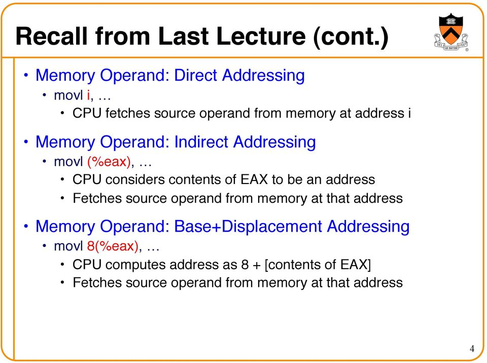CPU considers contents of EAX to be an address! Fetches source operand from memory at that address!