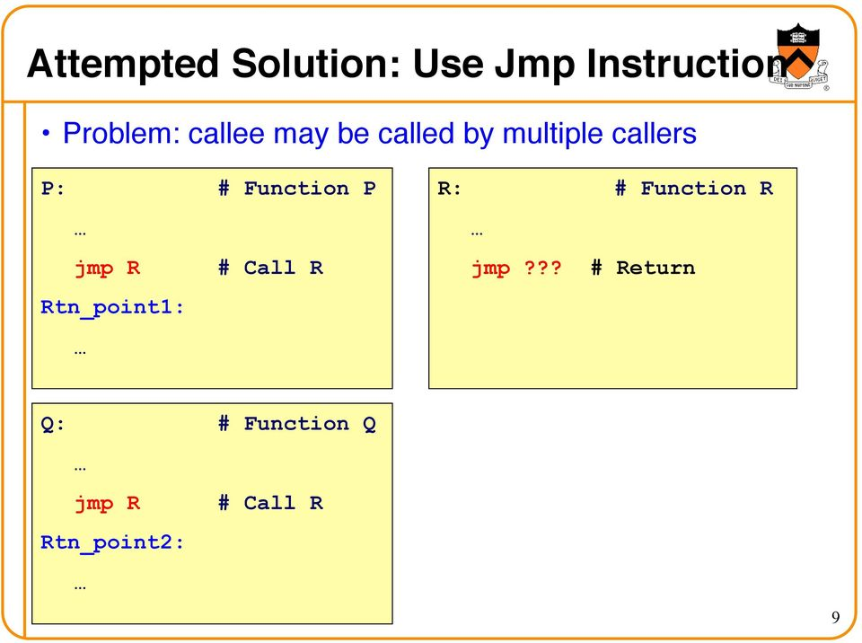 P: # Function P jmp R # Call R Rtn_point1: R: #