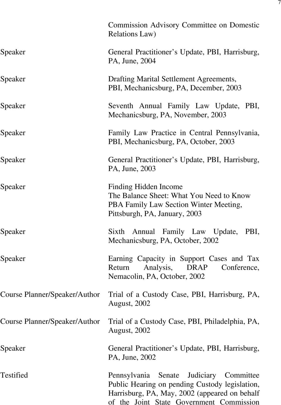 October, 2003 General Practitioner s Update, PBI, Harrisburg, PA, June, 2003 Finding Hidden Income The Balance Sheet: What You Need to Know PBA Family Law Section Winter Meeting, Pittsburgh, PA,