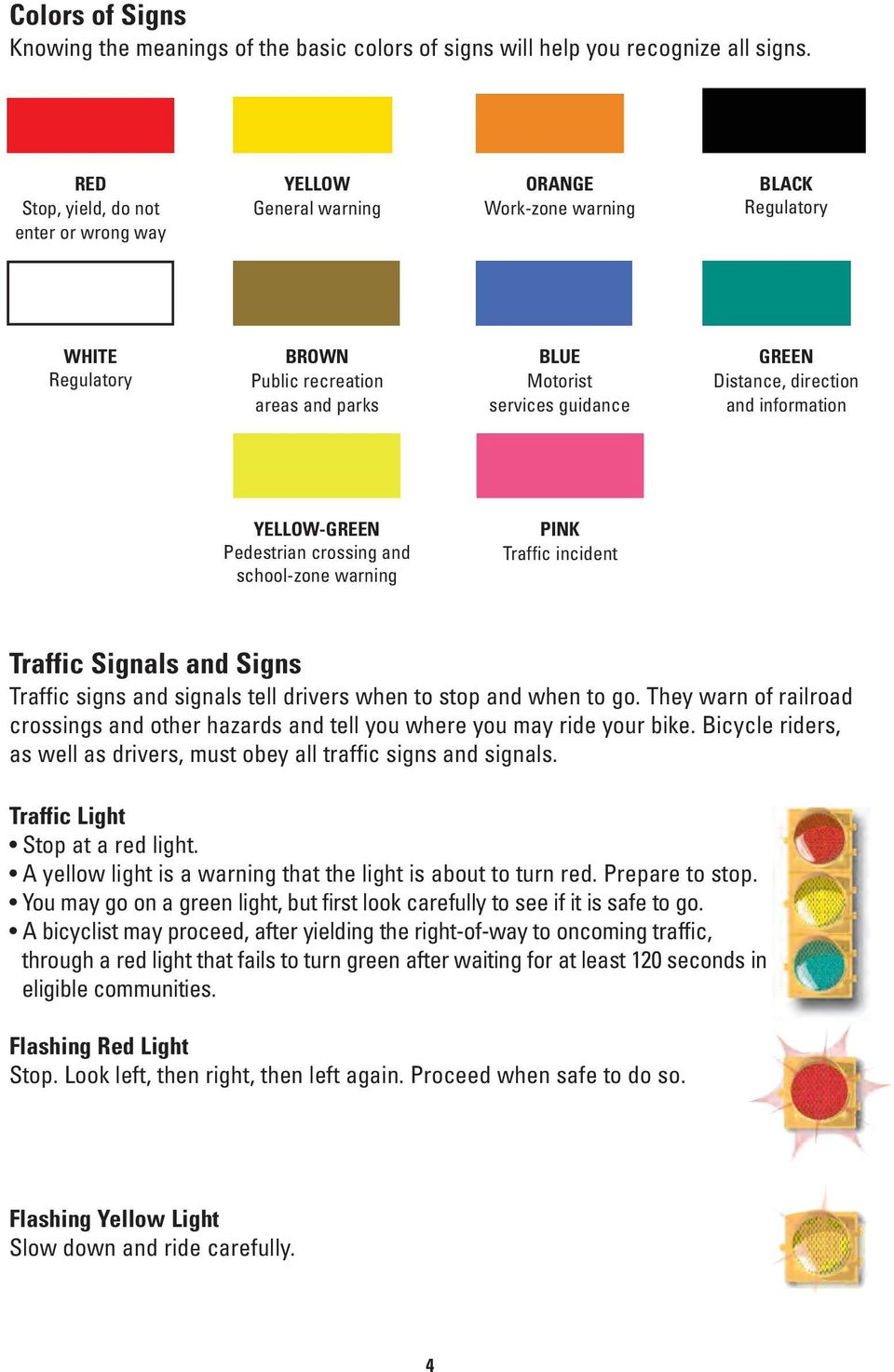 GREEN Distance, direction and information YELLOW-GREEN Pedestrian crossing and school-zone warning PINK Traffic incident Traffic Signals and Signs Traffic signs and signals tell drivers when to stop