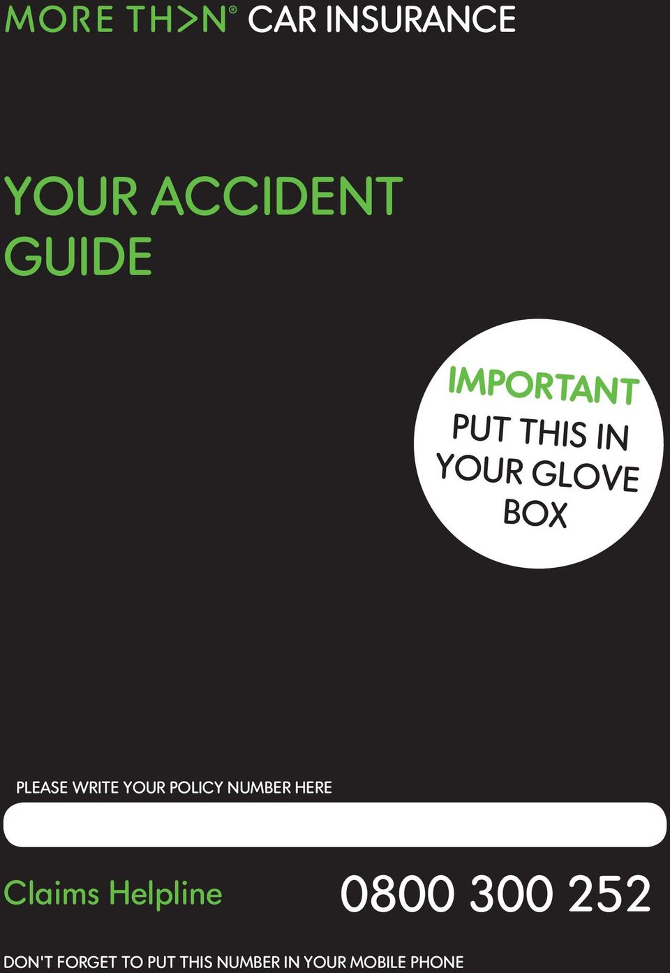 Your Accident Guide Car Insurance Important Put This In Your Glove