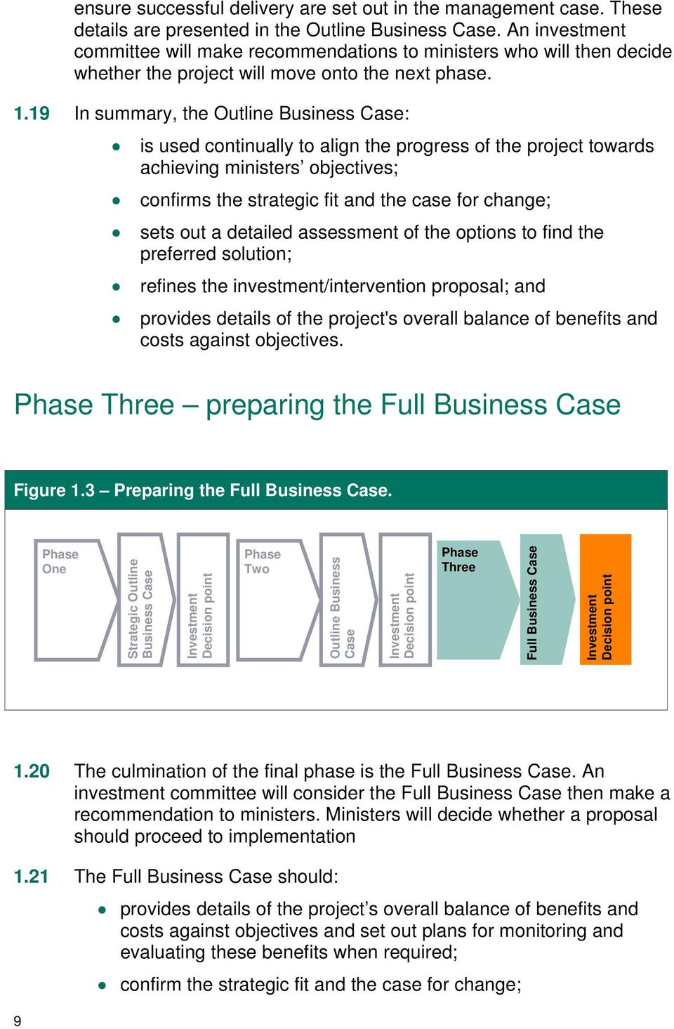 19 In summary, the Business Case: is used continually to align the progress of the project towards achieving ministers objectives; confirms the strategic fit and the case for change; sets out a