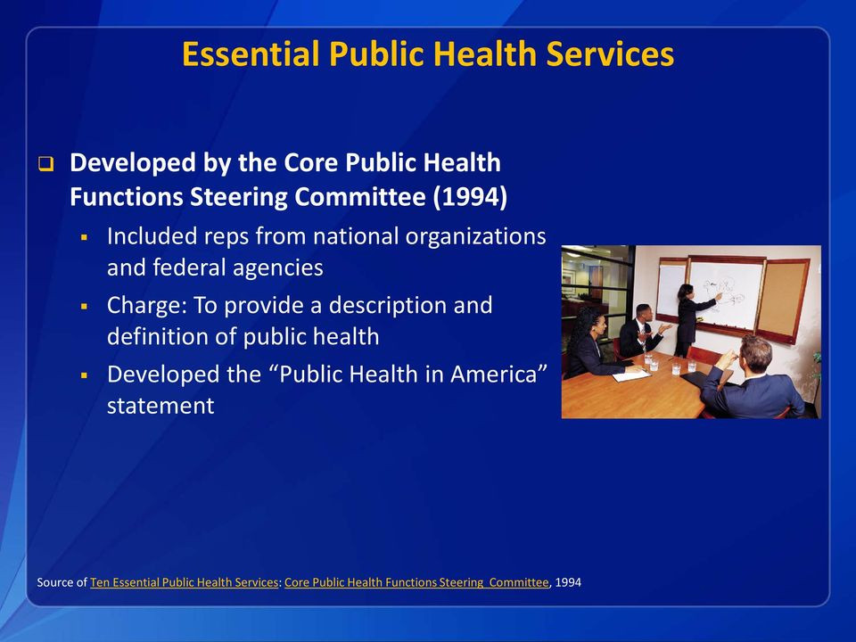 provide a description and definition of public health Developed the Public Health in America