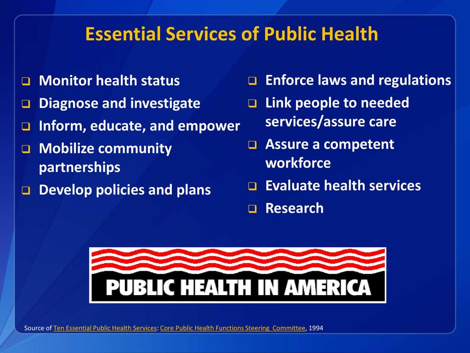 Link people to needed services/assure care Assure a competent workforce Evaluate health services