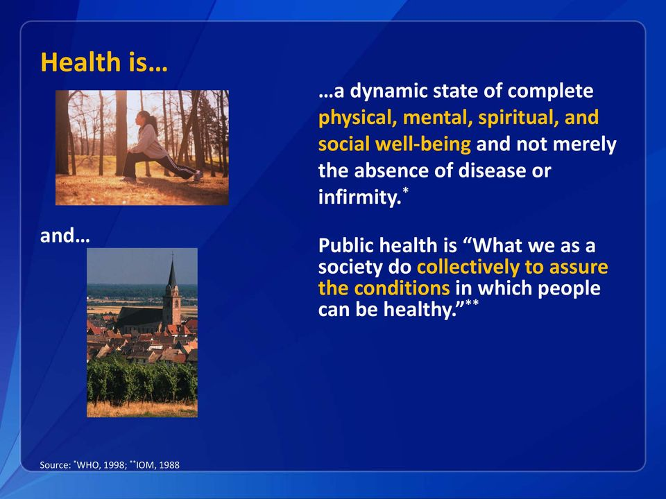 * Public health is What we as a society do collectively to assure the
