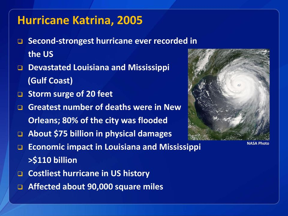 of the city was flooded About $75 billion in physical damages Economic impact in Louisiana and