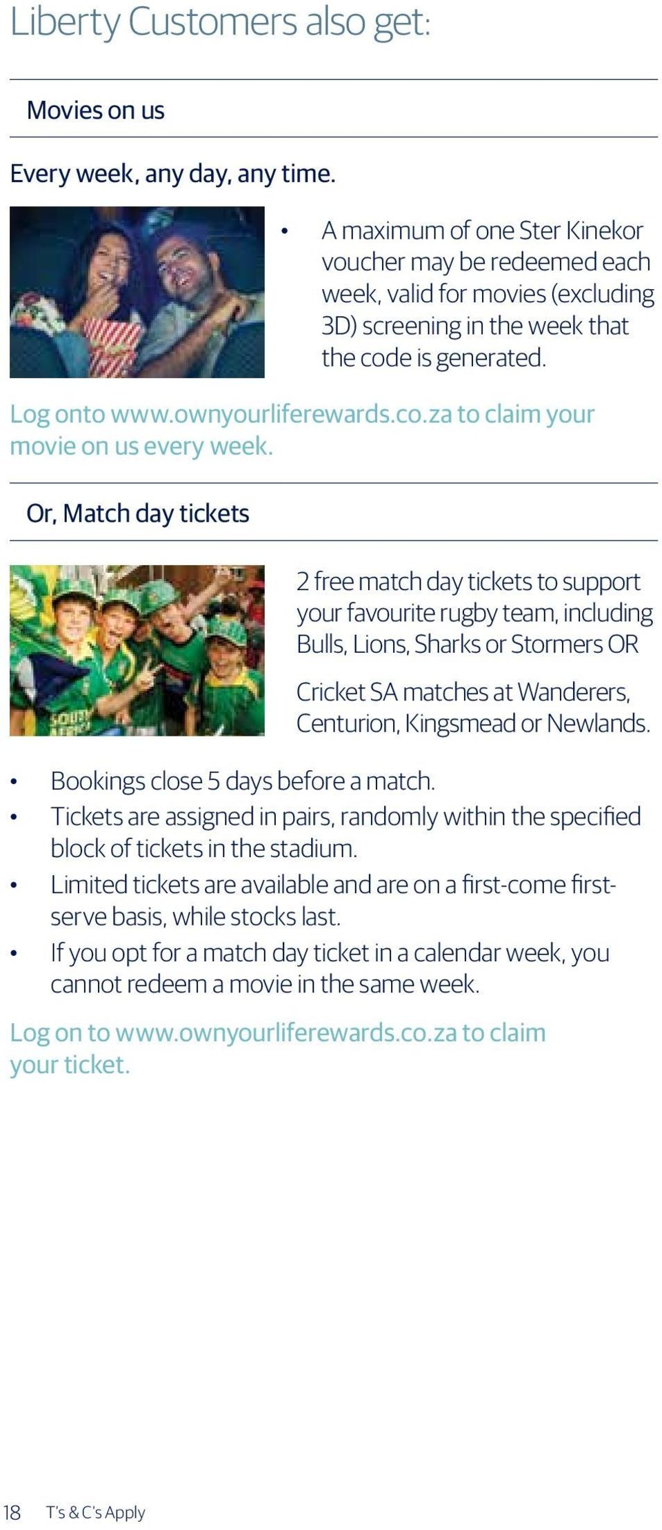 Or, Match day tickets 2 free match day tickets to support your favourite rugby team, including Bulls, Lions, Sharks or Stormers OR Cricket SA matches at Wanderers, Centurion, Kingsmead or Newlands.