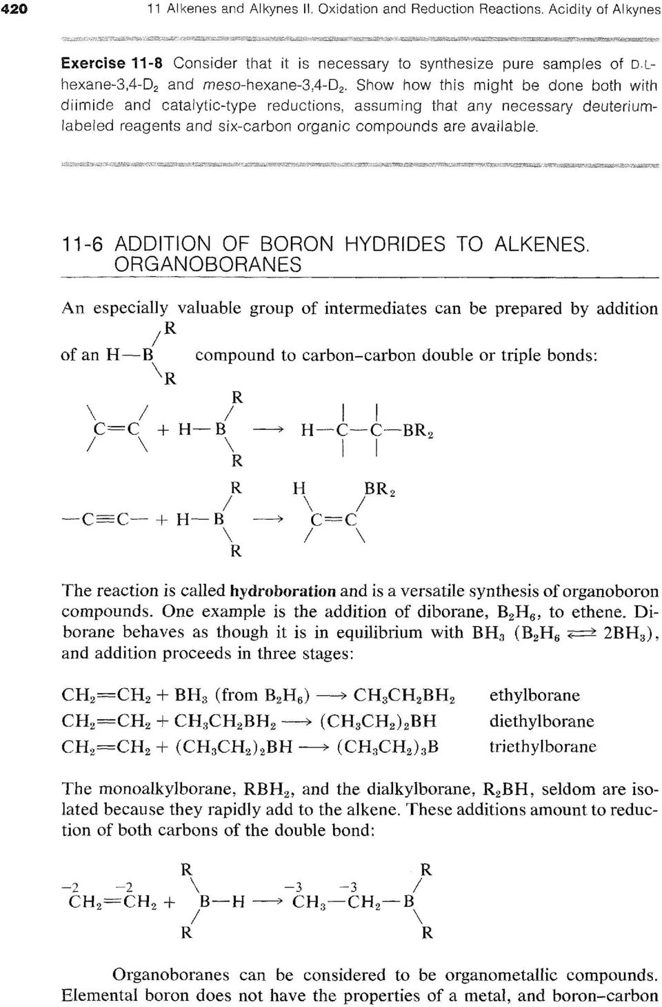 11-6 ADDITION OF BORON HYDRIDES TO ALKENES.
