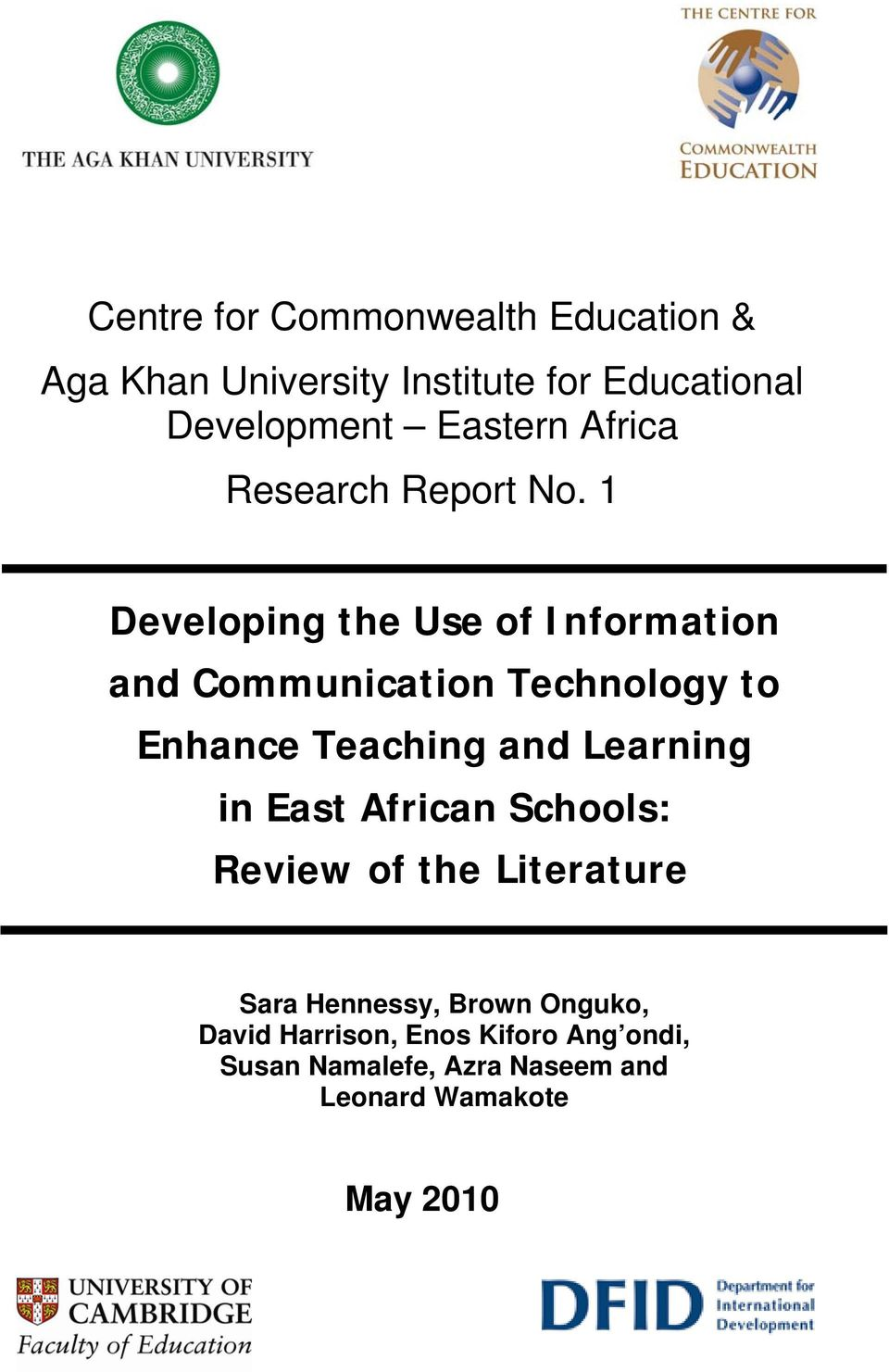 1 Developing the Use of Information and Communication Technology to Enhance Teaching and Learning in