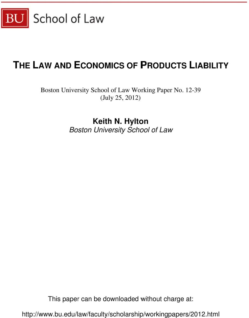 Hylton Boston University School of Law This paper can be downloaded