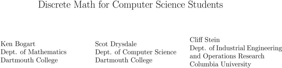 of Computer Science Dartmouth College Cliff Stein Dept.
