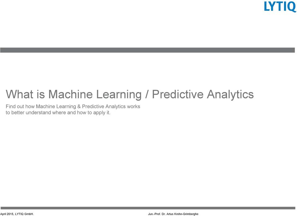 Learning & Predictive Analytics works