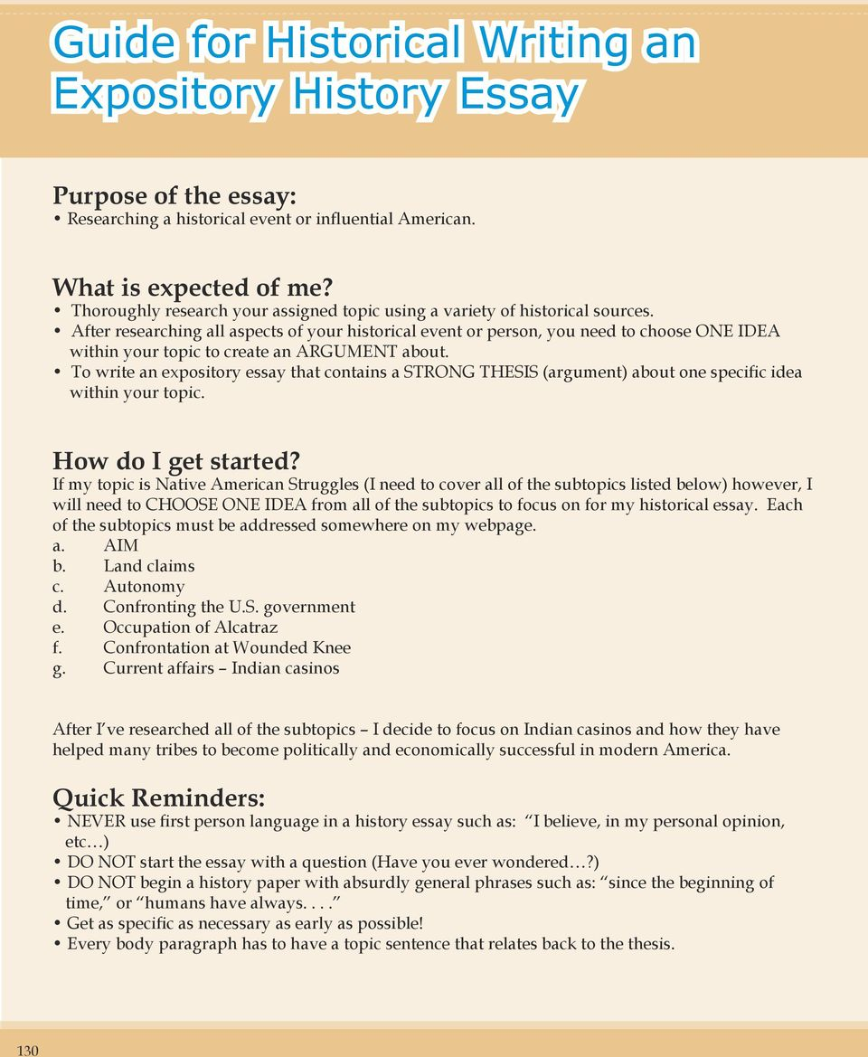 Historical event essay topics