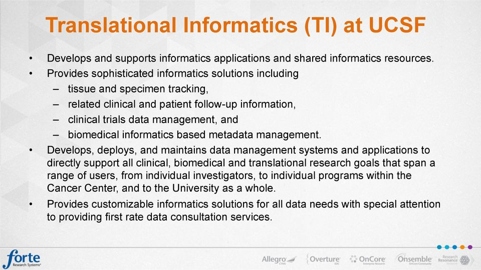 informatics based metadata management.