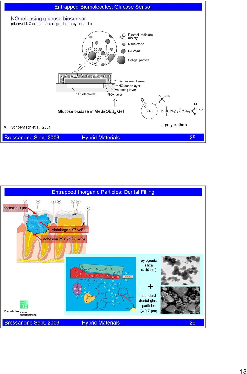 2006 Hybrid Materials 25 Entrapped Inorganic Particles: Dental Filling abrasion 9 µm shrinkage 1,97 vol% adhesion 25,8 /
