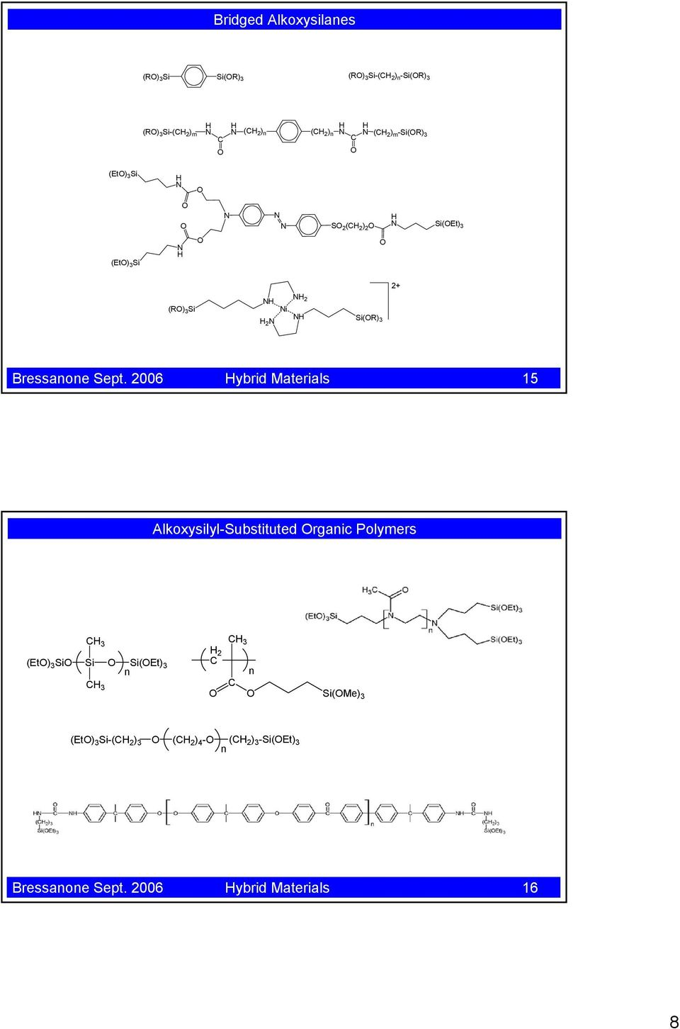 2006 Hybrid Materials 15 Alkoxysilyl-Substituted rganic Polymers CH 3 (Et) 3 (Et) 3 n CH 3 CH 3 H 2 C