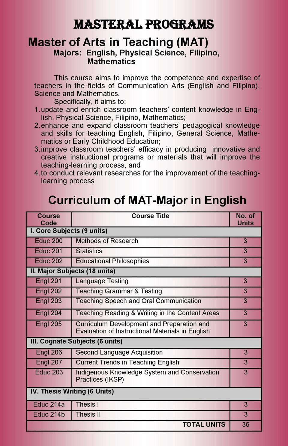 update and enrich classroom teachers content knowledge in English, Physical Science, Filipino, Mathematics; 2.