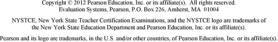 are trademarks of the New York State Education Department and Pearson Education, Inc. or its affiliate(s).