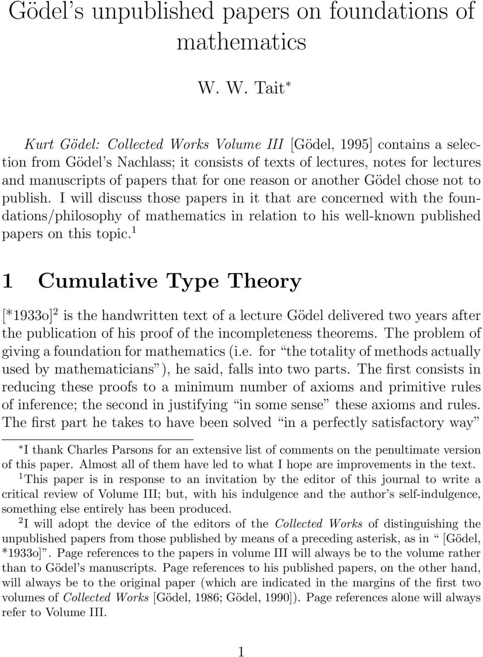 reason or another Gödel chose not to publish.