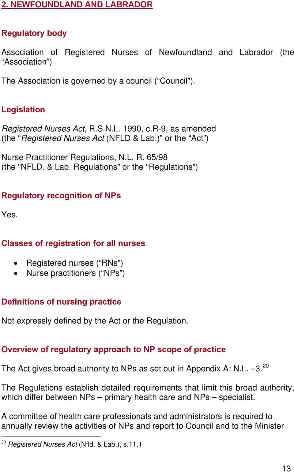 Classes of registration for all nurses Registered nurses ( RNs ) Nurse practitioners ( NPs ) Definitions of nursing practice Not expressly defined by the Act or the Regulation.