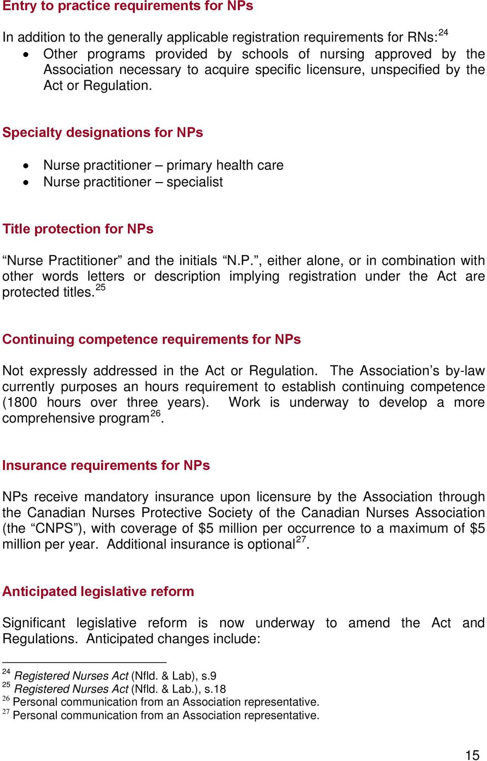 Specialty designations for NPs Nurse practitioner primary health care Nurse practitioner specialist Title protection for NPs Nurse Practitioner and the initials N.P., either alone, or in combination with other words letters or description implying registration under the Act are protected titles.