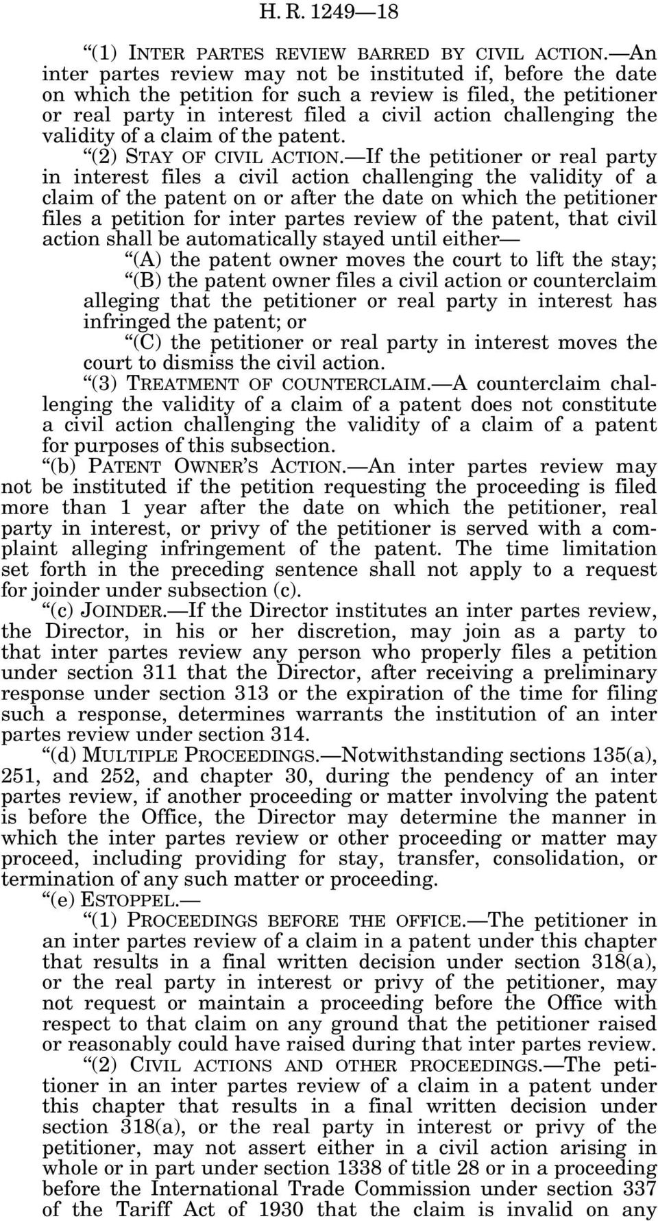 validity of a claim of the patent. (2) STAY OF CIVIL ACTION.