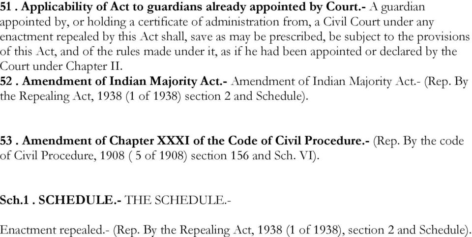 this Act, and of the rules made under it, as if he had been appointed or declared by the Court under Chapter II. 52. Amendment of Indian Majority Act.- Amendment of Indian Majority Act.- (Rep.