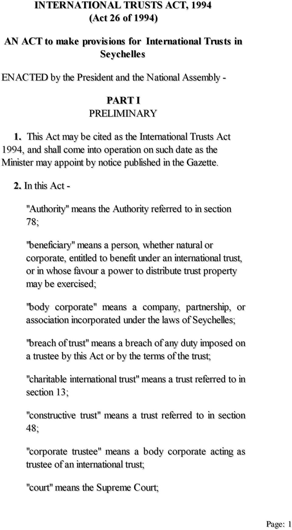 This Act may be cited as the International Trusts Act 1994, and shall come into operation on such date as the Minister may appoint by notice published in the Gazette. 2.