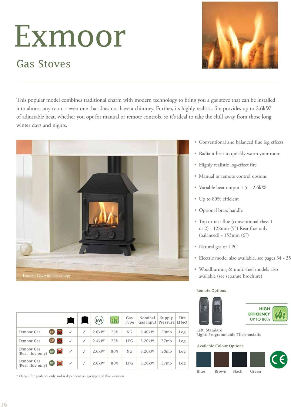 Conventional and balanced flue log effects Radiant heat to quickly warm your room Highly realistic log-effect fire Manual or remote control options Variable heat output 1.5 2.