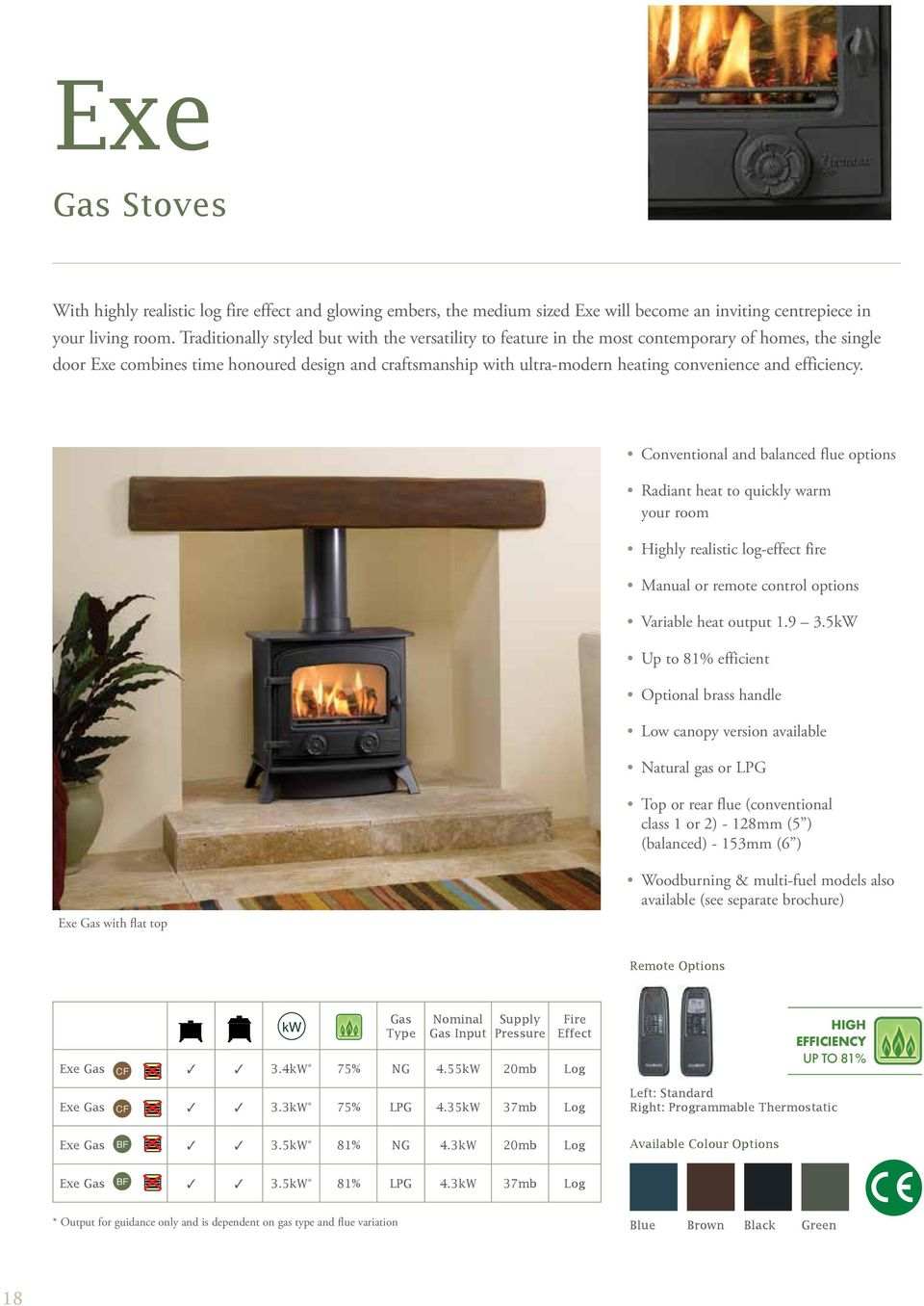 and efficiency. Conventional and balanced flue options Radiant heat to quickly warm your room Highly realistic log-effect fire Manual or remote control options Variable heat output 1.9 3.